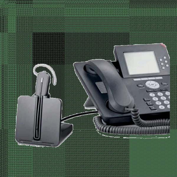 Plantronics cs540 Headset next to a deskphone