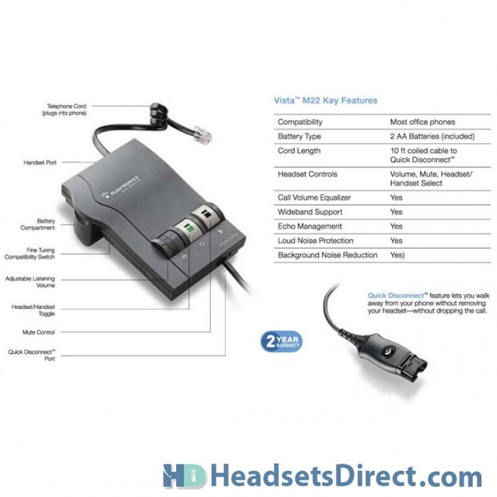 Plantronics Quick Disconnect Cord for headsets vista M10 M12 M22 26716-01