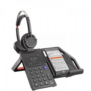 Picture of the Plantronics Elara 60 Mobile Phone Station in Black Color.
