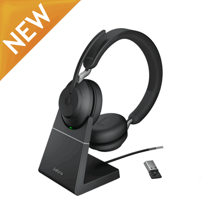 Jabra Evolve2 65 Stand & USB Dongle Stereo Computer Wireless Headset (Teams Version Available)