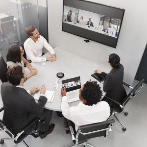 Jabra Video Conferencing Equipment with People in Huddle Room