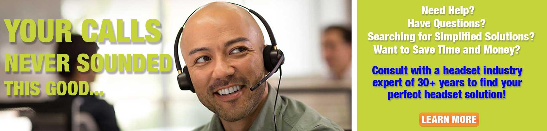 Office worker wearing headset