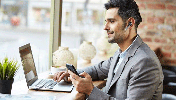 Jabra Stealth UC Bluetooth Headset In Use