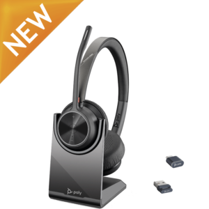 Poly Voyager 4320 UC Bluetooth Headset w/ BT700 Dongle and Charge Stand